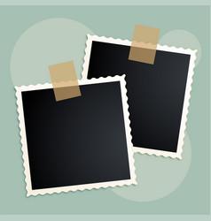 Retro photo frames scrapbook design vector