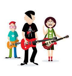 rock people playing guitar funky band isolated on vector image