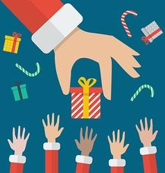 Santa Hand Giving Christmas Gift box vector image