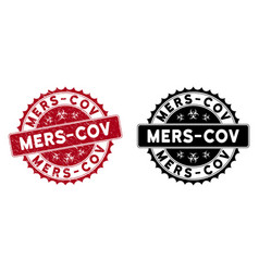 Scratched mers-cov rounded red watermark vector