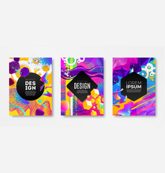 set of cover design with abstract multicolored vector image