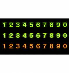 set of illuminated numbers vector image