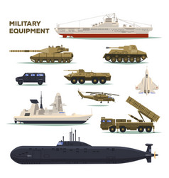 set of isolated army or military vehicletankship vector image