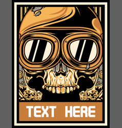 skull with motorcycle goggles vector image
