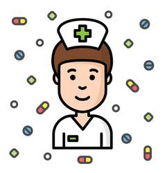 smiling kind nurse black outline with pills vector image