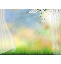 Spring background curtain branches vector