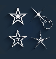 stars with shadows design paper stars on blue vector image