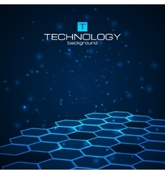 Technology background with honeycomb texture vector image