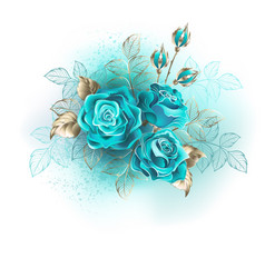Three turquoise roses vector