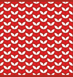 Tile red and white knitting pattern vector