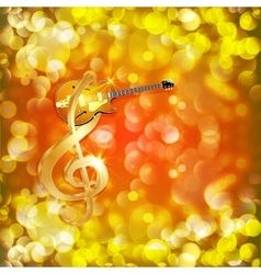 treble clef with jazz guitar on a bright vector image