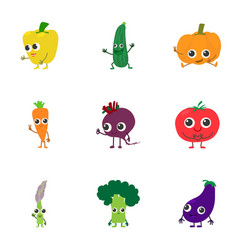 Veggie icons set cartoon style vector
