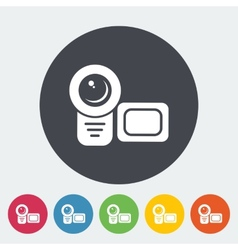 Video camera single flat icon vector
