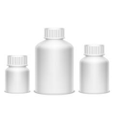 white medicine pill bottles vector image