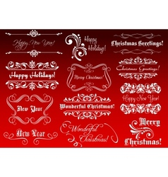 Winter holidays greetings and calligraphic vector
