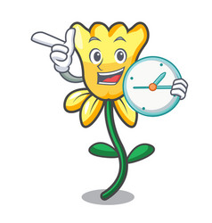with clock daffodil flower character cartoon vector image