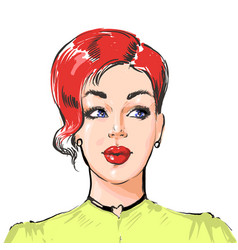 woman with short hairstyle young beautiful vector image
