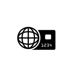 world credit card flat icon vector image