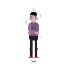 young man having cold - symptom of infectious or vector image