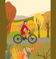 Young woman riding a bicycle in autumn park vector