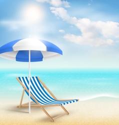 Beach with sun umbrella beach chair and clouds vector