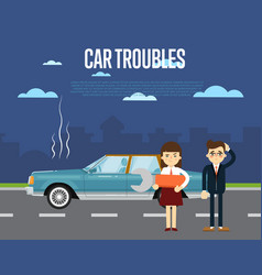 car troubles banner with people near broken car vector image