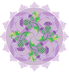 celtic symbols ornament with flowers thistle and vector image vector image