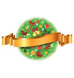 christmas sphere ribbon vector image vector image