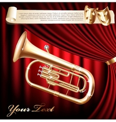 Classical baritone tuba horn vector image vector image