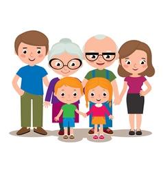 Family group portrait parents grandparents and chi vector image
