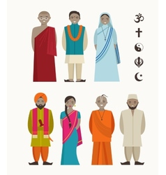 Indian people - different indian religious vector image vector image