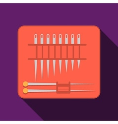 Needles set red pack flat icon vector image