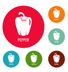 pepper icons circle set vector image