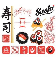 set sushi vector image vector image