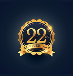 22nd anniversary celebration badge label in vector image vector image