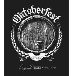 Oktoberfest lettering with wooden barrel vector image vector image
