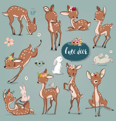 set with cute hares and deer vector image vector image