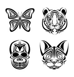 Skull butterfly tiger cat tattoo design vector