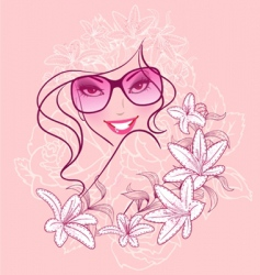 women in sunglasses floral background vector image