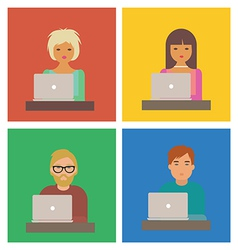 Characters with laptops vector image vector image