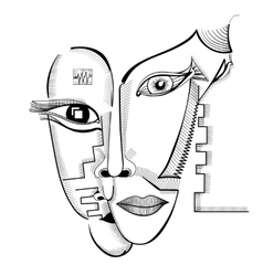 Hand drawing faces in cubism style vector