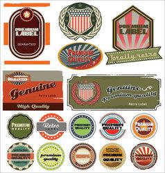 premium quality retro labels vector image