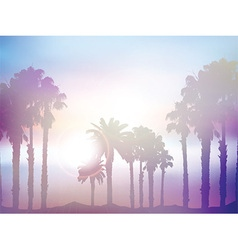 Summer palm tree landscape with retro effect vector image vector image
