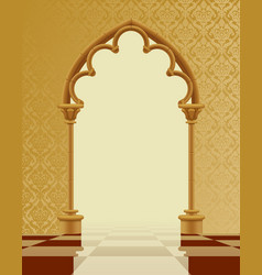 beige and brown gothic gate with classic vector image vector image