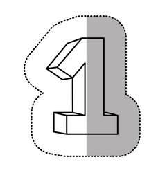 contour number one icon vector image
