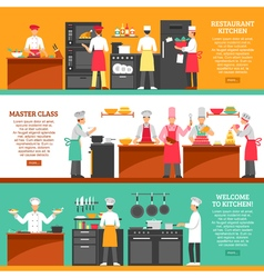 Cooking Master Class Horizontal Banners vector image vector image