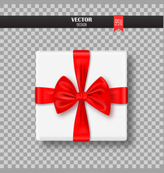 decorative gift box with red bow and ribbon vector image vector image