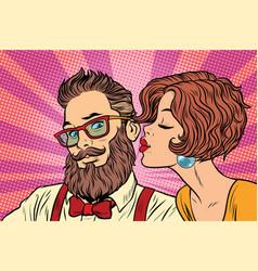 Heterosexual couple beautiful woman kisses a vector