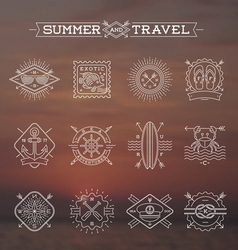 Line drawing Summer holidays and travel emblems vector image vector image