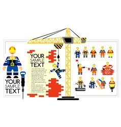 set of icons of workers and builders with tools vector image